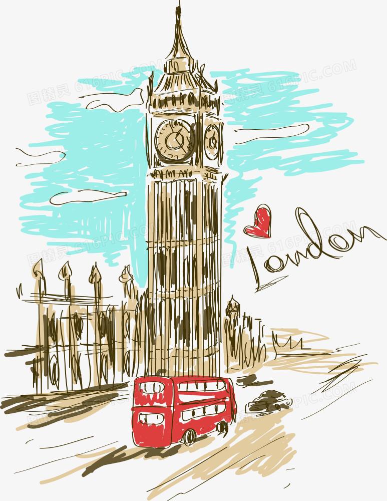 矢量手绘伦敦大本钟图片免费下载_高清png素材_图精灵