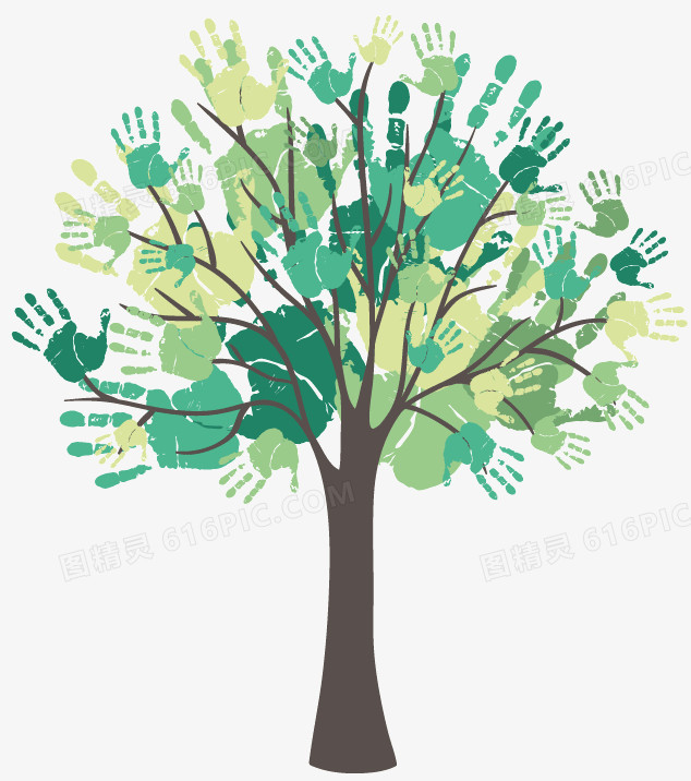 图精灵 免抠元素 装饰图案 > 创意水彩手印树木设计矢量图   图精灵为