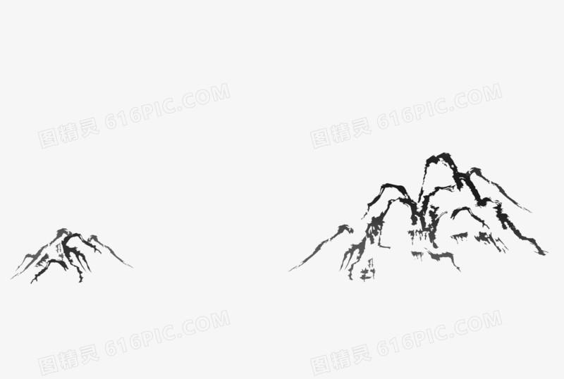 手绘线条山峰