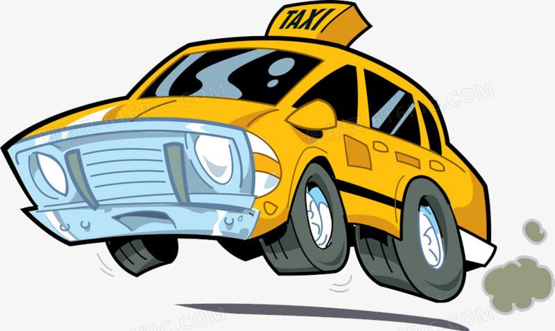 卡通手绘卡通出租车图片免费下载_高清png素材_图精灵