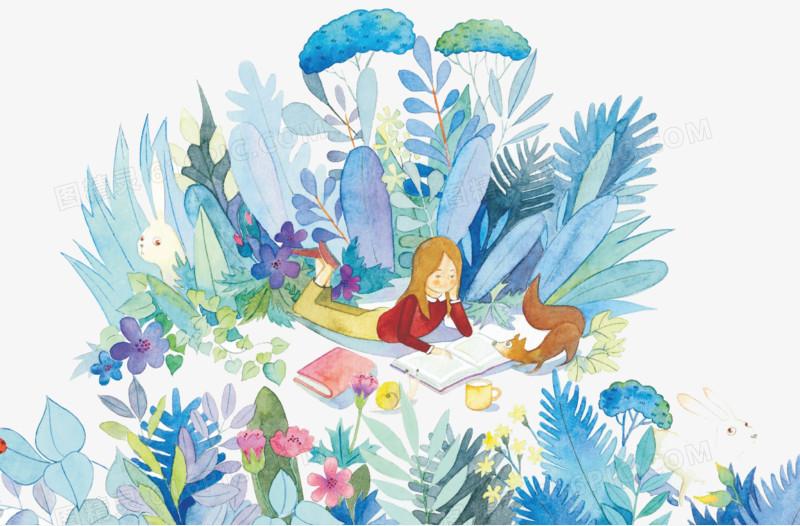 森林看书的小女孩