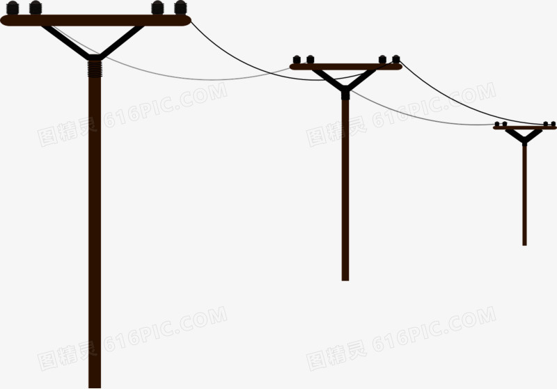 黑色的电线杆图片免费下载_高清png素材_图精灵