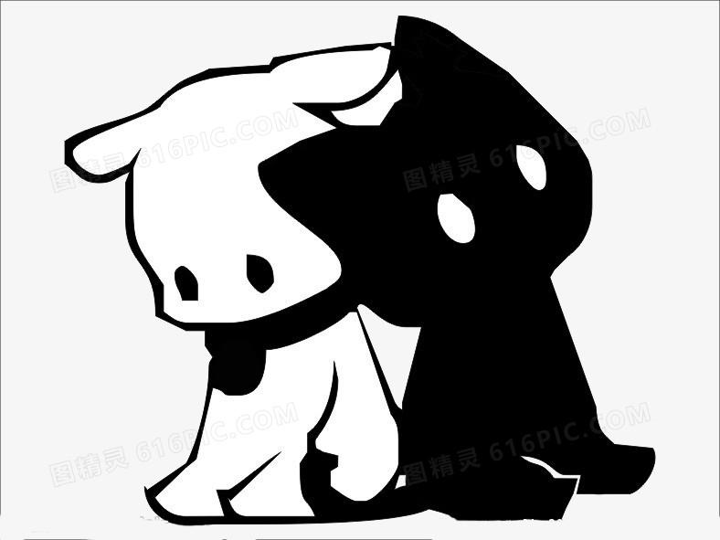 卡通狗素材小狗 黑白狗