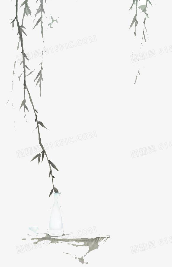 手绘灰色柳枝图片免费下载_高清png素材_图精灵