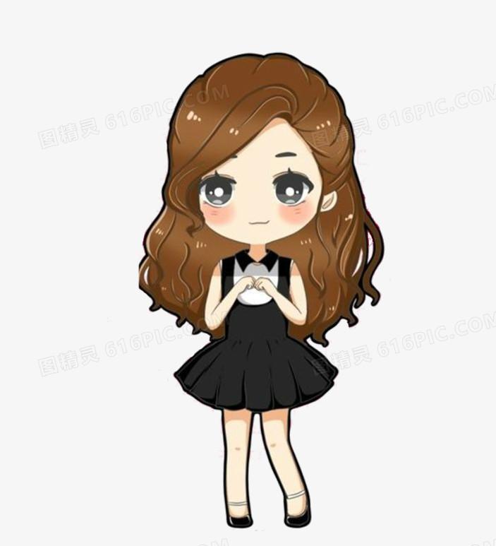 害羞的长发女孩Q图图片免费下载_高清PNG素材_图精灵