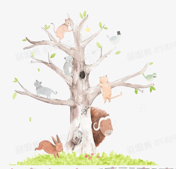 森林系唯美手绘插画图片免费下载_高清png素材_图精灵