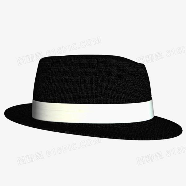 黑色黑帮宽边白边帽子图片免费下载_高清png素材_图
