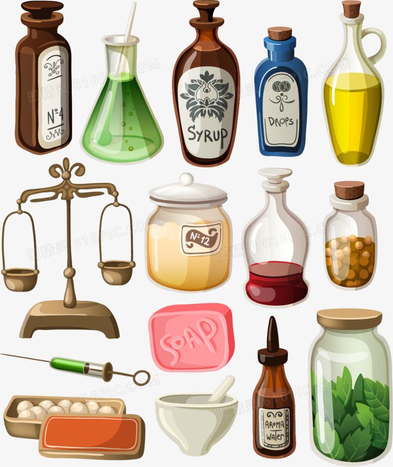 护肤精油矢量素材,瓶子