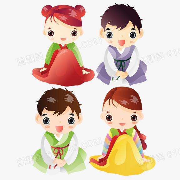 朝鲜族卡通情侣图片免费下载_高清png素材_图精灵