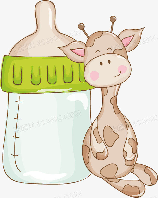 奶瓶长颈鹿矢量卡通手绘素材
