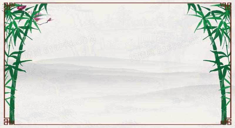 中国风边框竹子