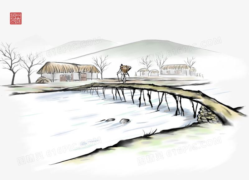 中国风手绘小桥流水素材