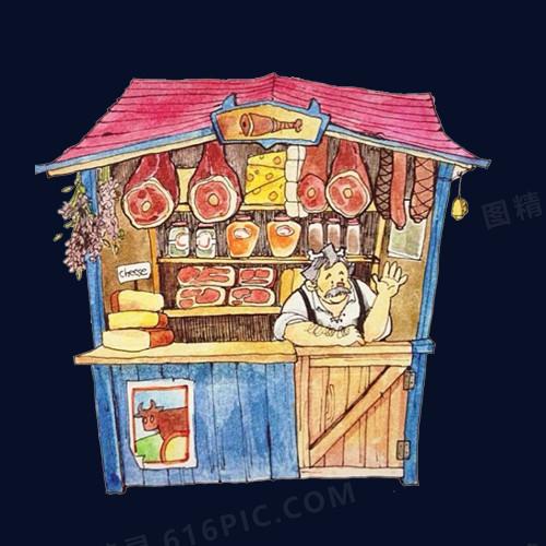 小卖部手绘画素材图片