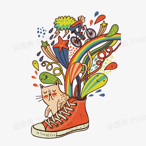 可爱卡通 手绘 鞋 猫咪 矢量图 装饰图案