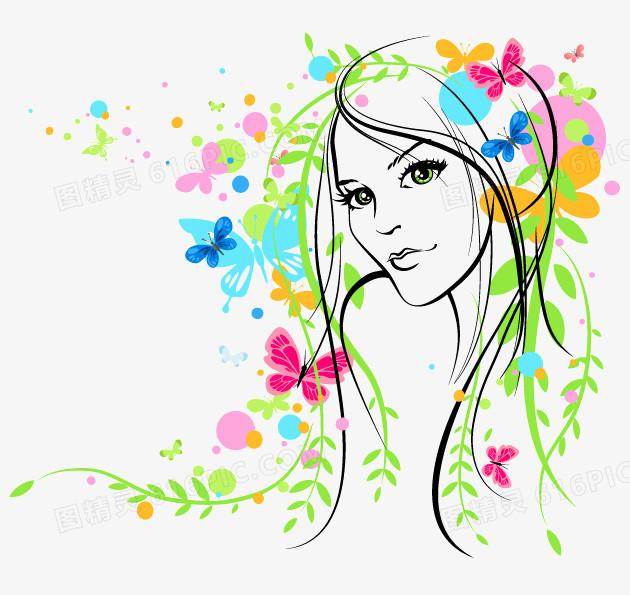 彩绘,花枝,花纹,蝴蝶,春天,柳枝,女子,头像,素描,手绘