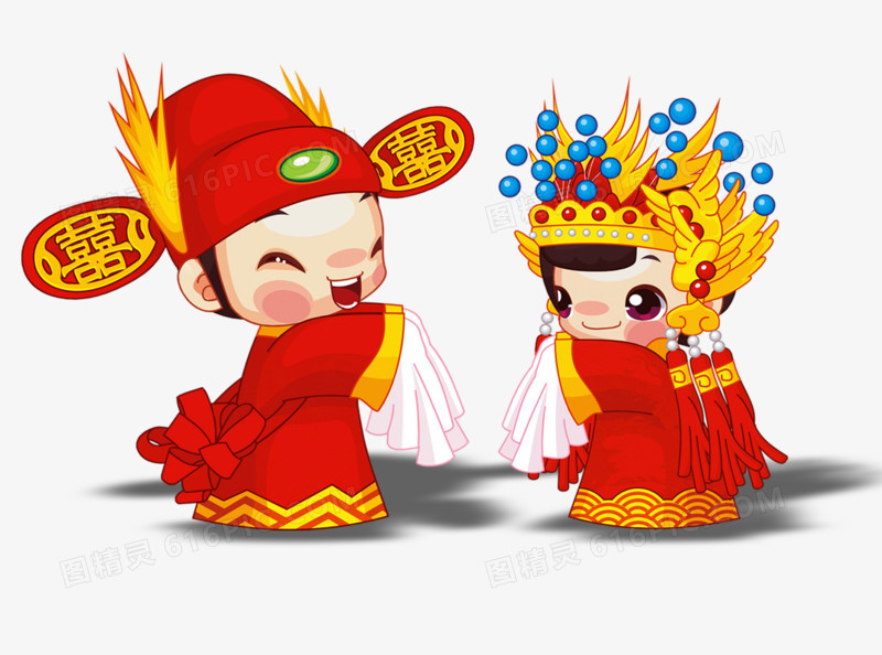 结婚卡通小人图片免费下载_高清png素材_图精灵