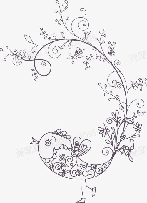手绘素描花朵花藤图案图片免费下载_高清png素材_图