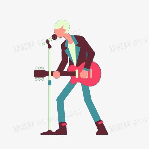 扁平化唱歌的歌手图片免费下载_高清png素材_图精灵