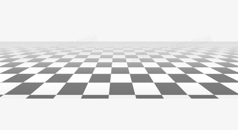 黑白色地板砖效果图免抠素材