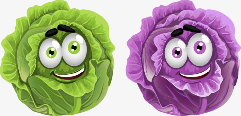 卡通矢量可爱蔬菜白菜紫甘蓝图片