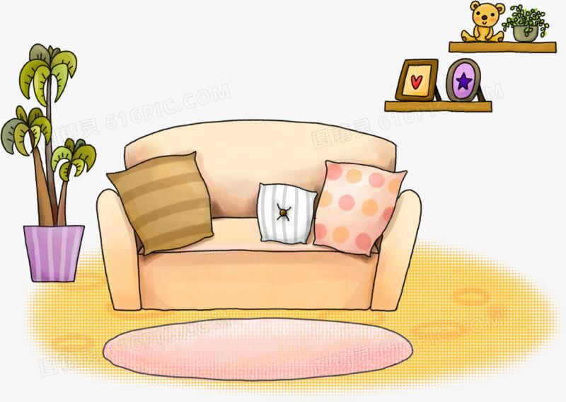 卡通沙发与盆栽图片免费下载_高清png素材_图精灵