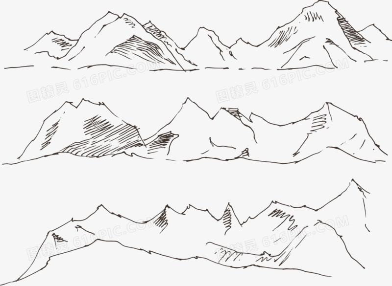 矢量手绘线条山图片免费下载_高清png素材_图精灵