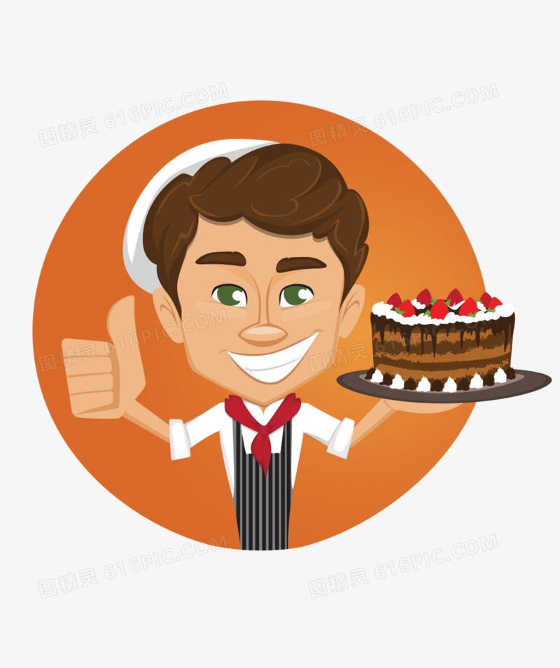 下载后直接使用,下载卡通手绘竖拇指蛋糕面包师图片素材就到图精灵.