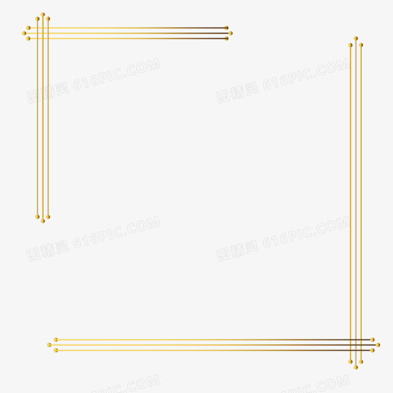 时尚前卫的线条金色边框