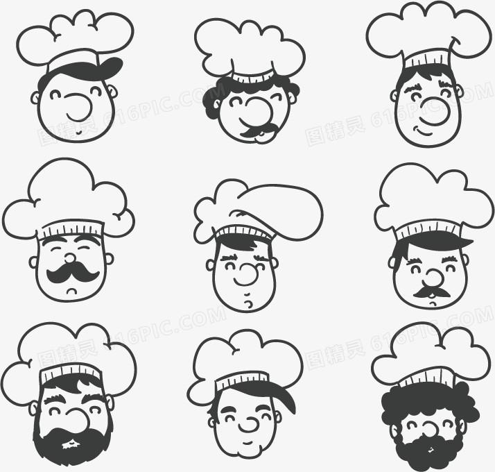 厨师帽萌女孩简笔画人物