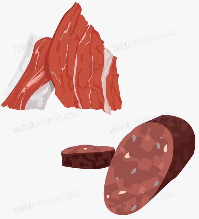 矢量手绘肉制品