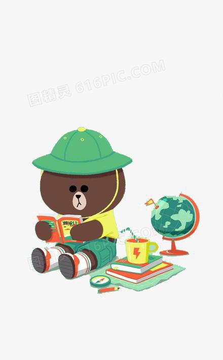 扁平化看书的小熊
