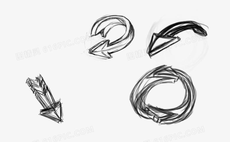 铅笔手绘的箭头草稿