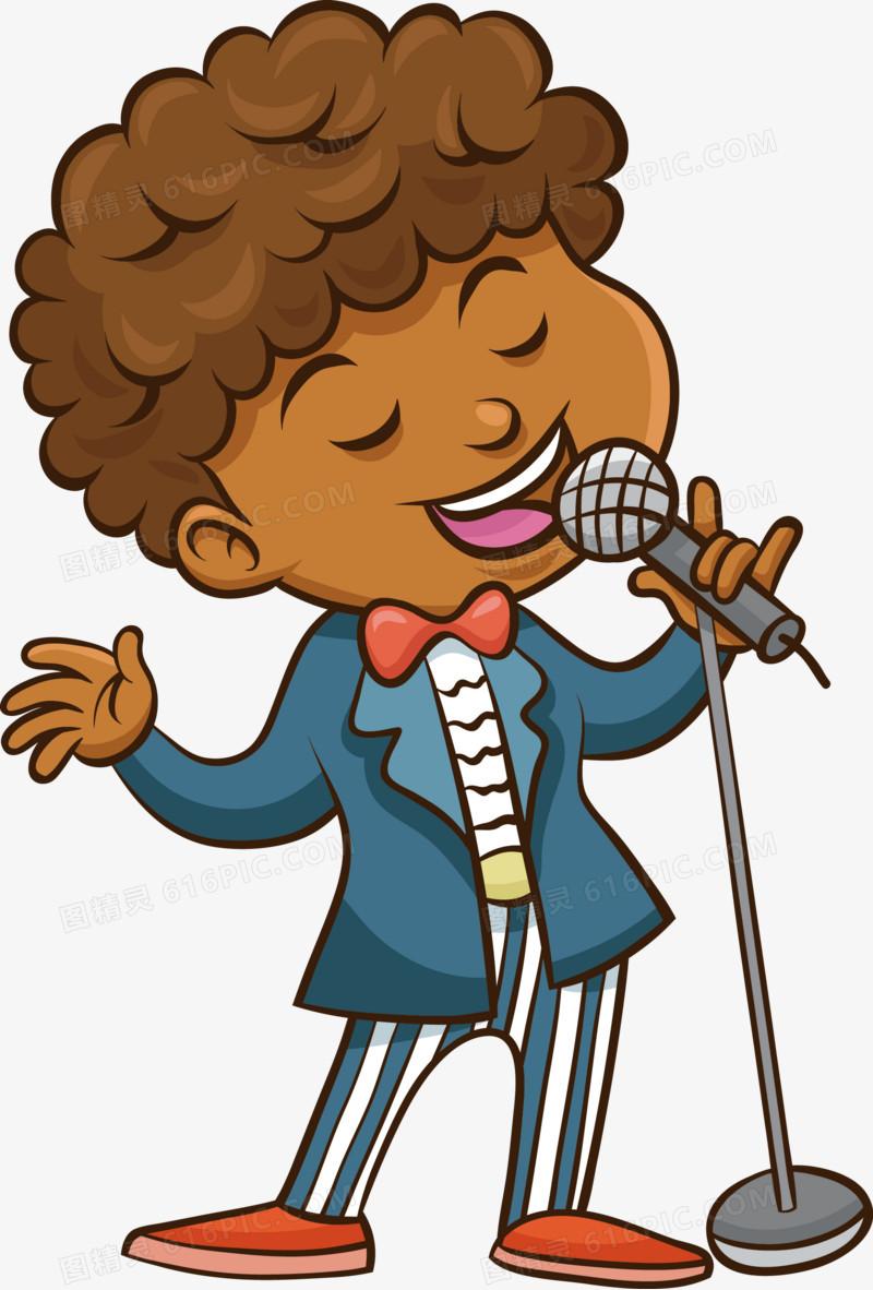 唱歌的小男生矢量图