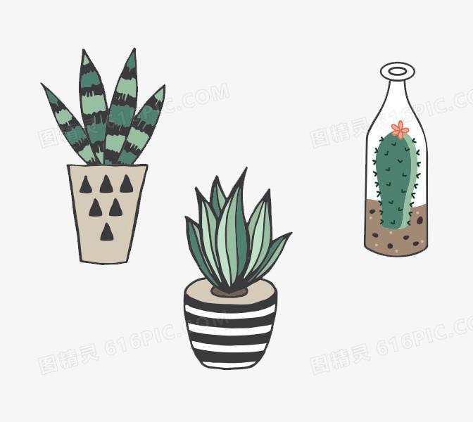 清新可爱手绘仙人掌盆栽免抠素材