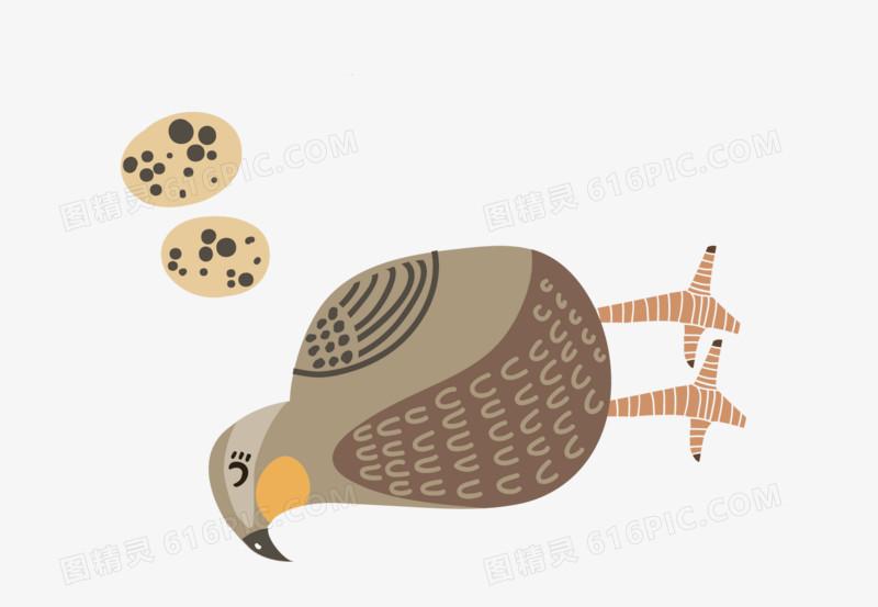 扁平化卡通小动物鹌鹑