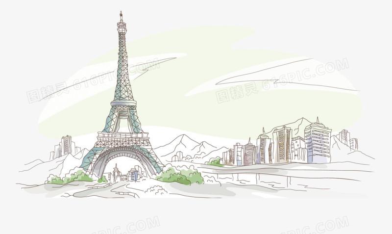 水彩手绘线描风景画埃菲尔铁塔