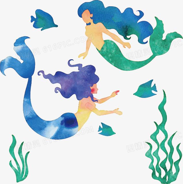 图精灵 免抠元素 卡通手绘 > 矢量手绘插画美人鱼   图精灵为您提供矢