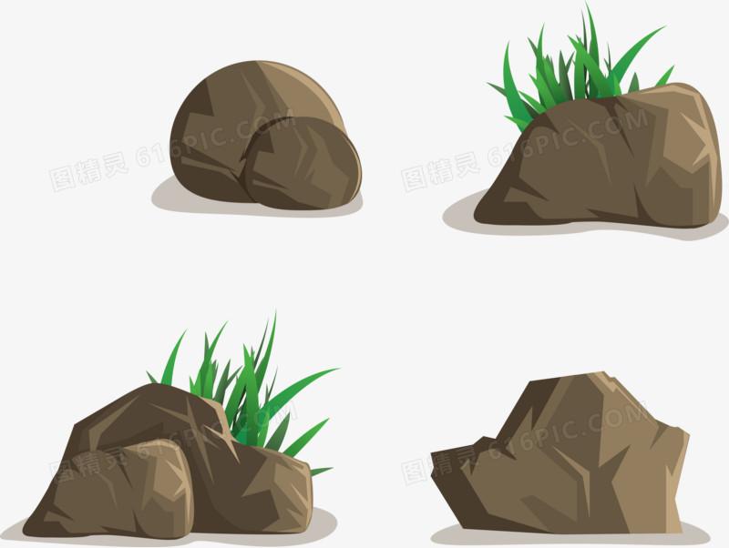创意石头造型矢量图