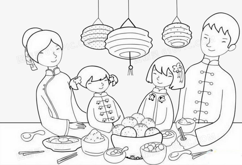 手绘图案一家四口吃饭图片免费下载_高清png素材_图