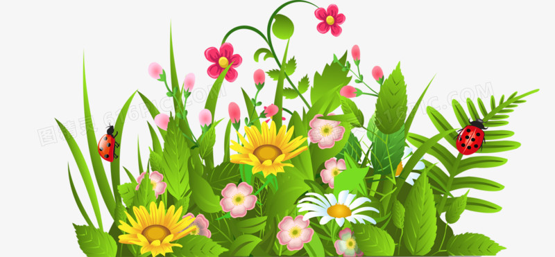 春天卡通花丛