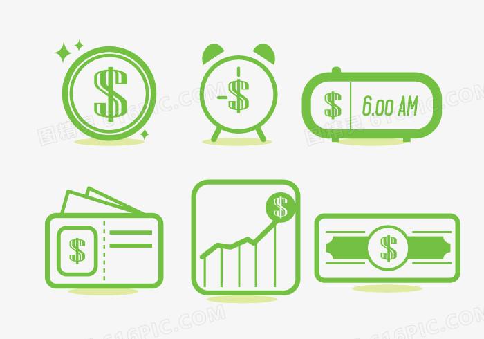 绿色 商务元素 矢量图 装饰图案 闹钟 钱币符号