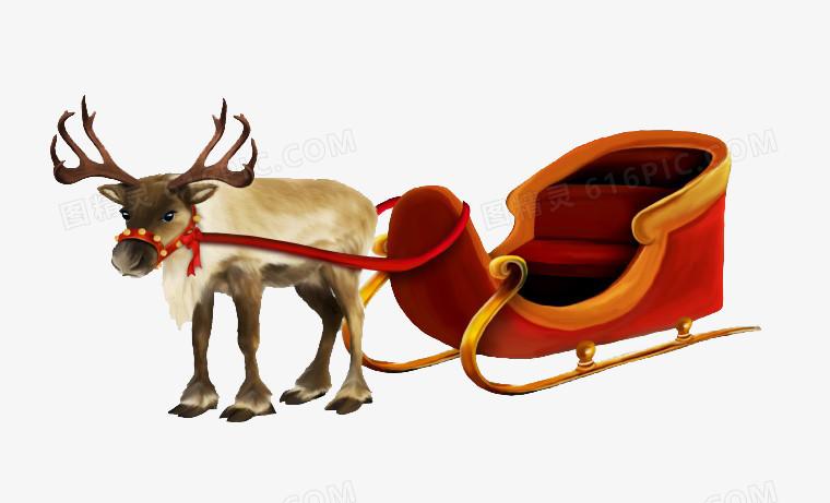 圣诞鹿和雪橇车图片免费下载_高清png素材_图精灵