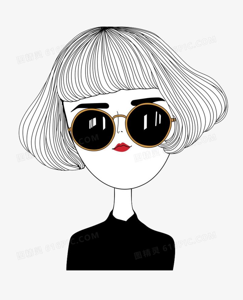 简笔画时尚短发戴墨镜女孩图片免费下载 高清PNG素材 图精灵