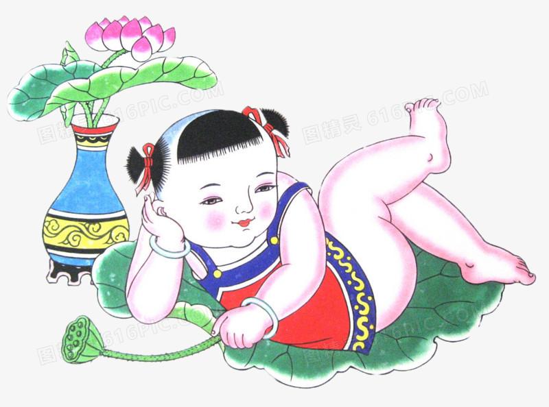 卧躺着的年画娃娃图片免费下载_高清png素材_图精灵