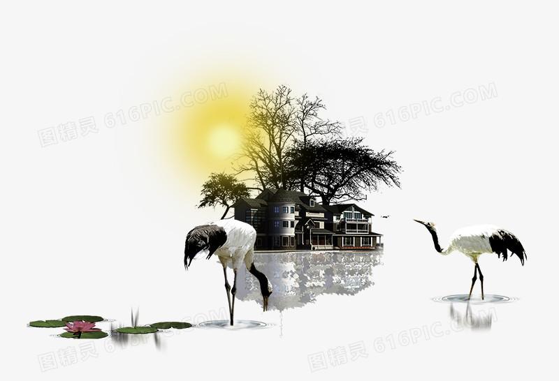 中国风水墨觅食的白鹤