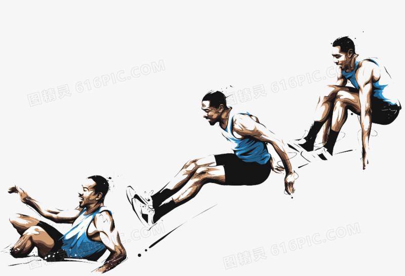 跳远运动员手绘图案