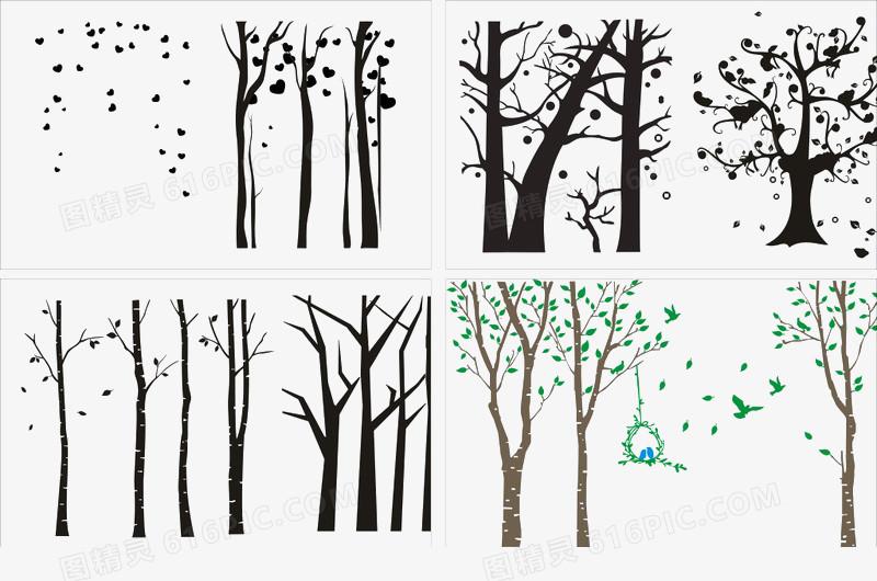 树枝剪影图片免费下载_高清png素材_图精灵