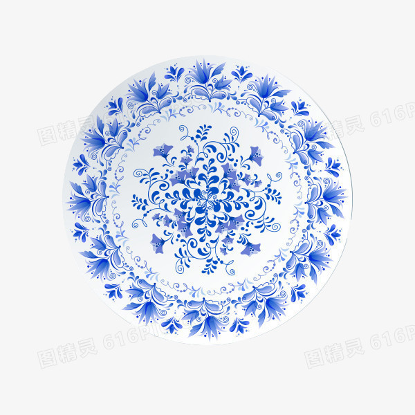 青花瓷复古花纹盘子图片免费下载_高清png素材_图精灵