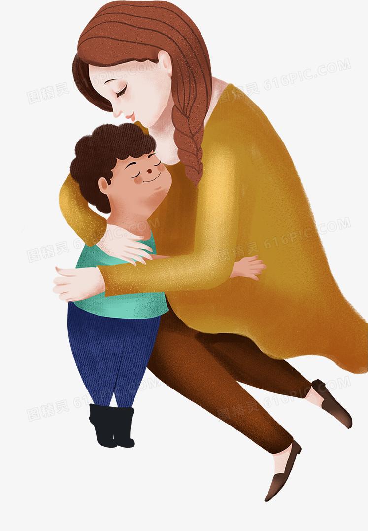 手绘可爱人物插画母亲节拥抱妈妈