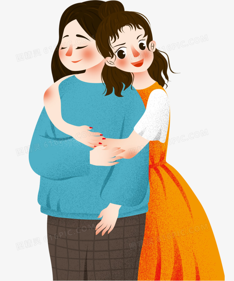 手绘装饰插图母亲节拥抱妈妈插画